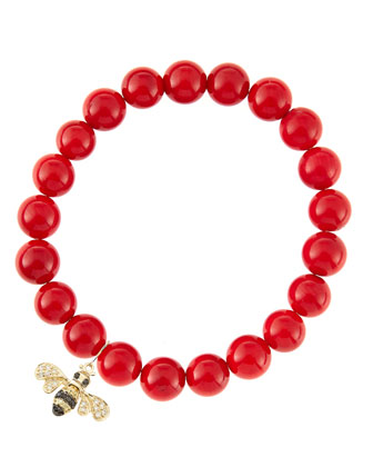 8mm Red Coral Beaded Bracelet with 14k Gold/Diamond Small Bee Charm (Made ...