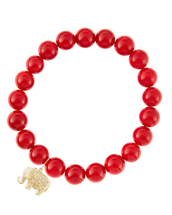 8mm Red Coral Beaded Bracelet with 14k Gold/Diamond Small Elephant Charm ...
