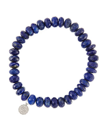 8mm Faceted Lapis Beaded Bracelet with 14k White Gold/Diamond Small Disc ...