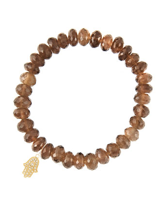 8mm Faceted Smoky Quartz Beaded Bracelet with 14k Yellow Gold/Diamond Small ...