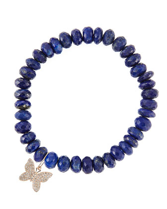 8mm Faceted Lapis Beaded Bracelet with 14k Gold/Diamond Small Butterfly ...