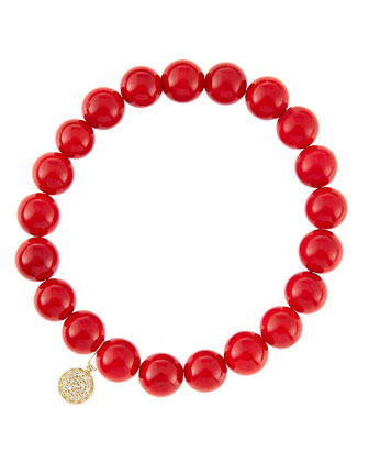 6mm Red Coral Beaded Bracelet with 14k Yellow Gold/Diamond Small Disc Charm ...