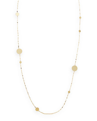 14k Gold Long Gold Disc Necklace, 30