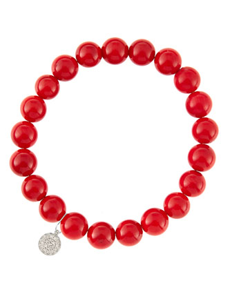 8mm Red Coral Beaded Bracelet with 14k White Gold/Diamond Small Disc Charm ...