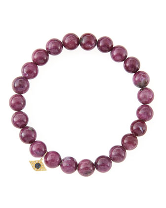 8mm Natural Ruby Beaded Bracelet with 14k Yellow Gold/Diamond Small Evil ...