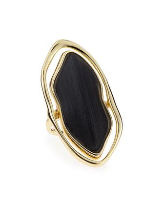 Framed Liquid Metal Lucite Ring, Black