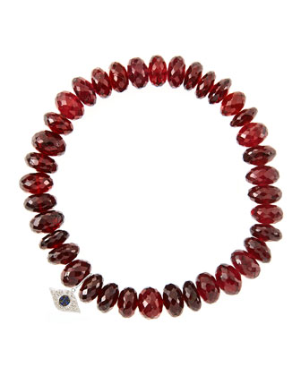 8mm Faceted Garnet Beaded Bracelet with 14k White Gold/Diamond Small Evil ...