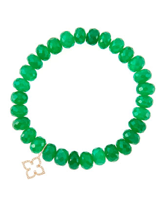 8mm Faceted Green Onyx Beaded Bracelet with 14k Gold/Diamond Small Moroccan ...