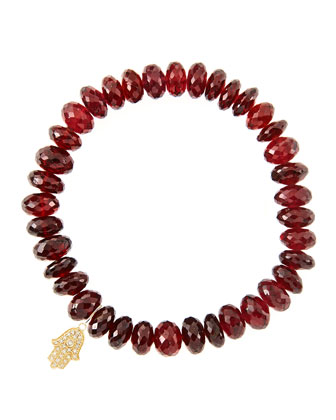 8mm Faceted Garnet Beaded Bracelet with 14k Yellow Gold/Diamond Small Hamsa ...