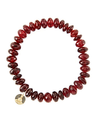 8mm Faceted Garnet Beaded Bracelet with 14k Gold/Diamond Small Buddha Charm ...