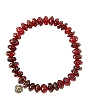 8mm Faceted Garnet Beaded Bracelet with 14k Gold/Diamond Round Evil Eye ...