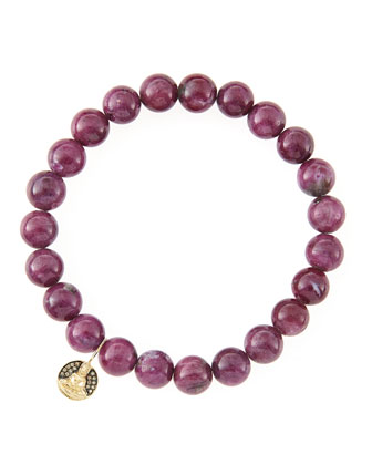 8mm Natural Ruby Beaded Bracelet with 14k Gold/Diamond Small Buddha Charm ...