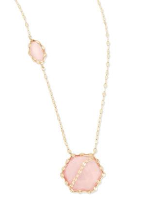 14k Pink Opal Station Necklace
