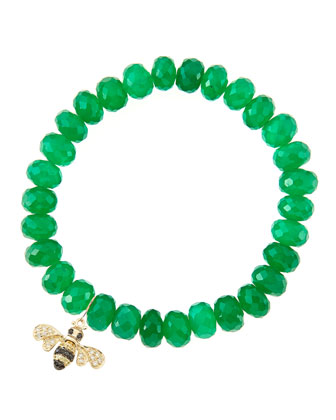 8mm Faceted Green Onyx Beaded Bracelet with 14k Gold/Diamond Small Bee ...