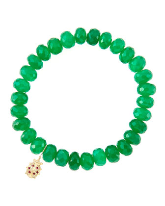 8mm Faceted Green Onyx Beaded Bracelet with 14k Gold/Diamond Medium Ladybug ...