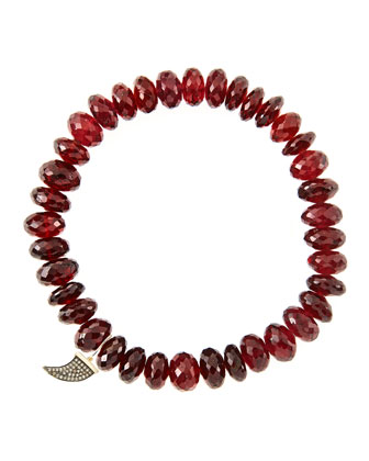 8mm Faceted Garnet Beaded Bracelet with 14k Gold/Diamond Small Horn Charm ...
