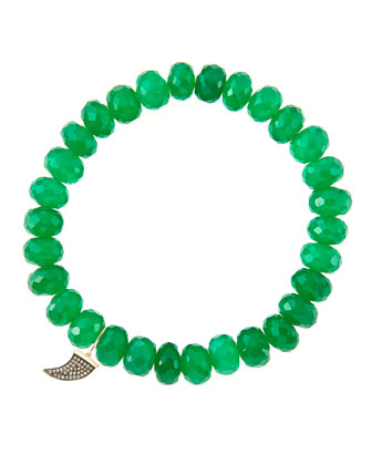 8mm Faceted Green Onyx Beaded Bracelet with 14k Gold/Diamond Small Horn ...
