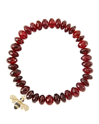 8mm Faceted Garnet Beaded Bracelet with 14k Gold/Diamond Small Bee Charm ...