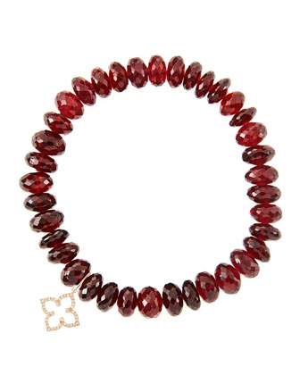 8mm Faceted Garnet Beaded Bracelet with 14k Gold/Diamond Small Moroccan ...