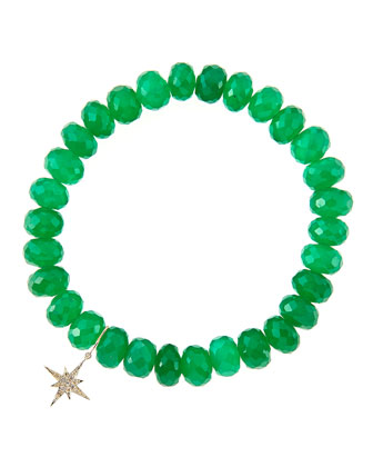 8mm Faceted Green Onyx Beaded Bracelet with 14k Gold/Diamond Small ...