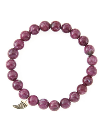 8mm Natural Ruby Beaded Bracelet with 14k Gold/Diamond Small Horn Charm ...