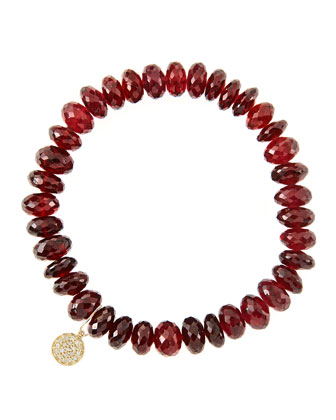 8mm Faceted Garnet Beaded Bracelet with 14k Yellow Gold/Diamond Small Disc ...