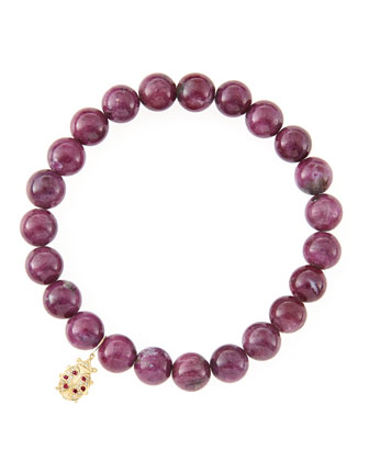 8mm Natural Ruby Beaded Bracelet with 14k Gold/Diamond Medium Ladybug Charm ...