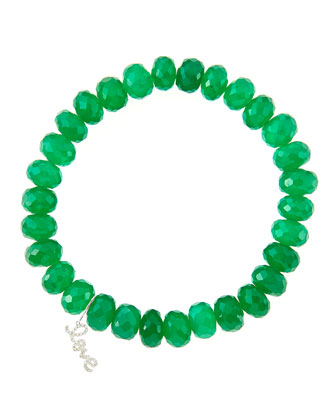 8mm Faceted Green Onyx Beaded Bracelet with 14k White Gold/Diamond Small ...