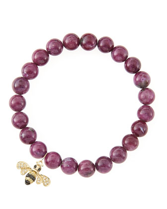 8mm Natural Ruby Beaded Bracelet with 14k Gold/Diamond Small Bee Charm ...