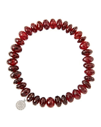 8mm Faceted Garnet Beaded Bracelet with 14k White Gold/Diamond Small Disc ...