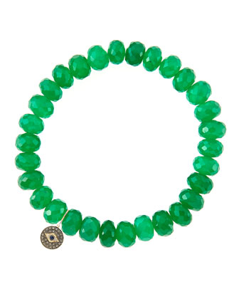 8mm Faceted Green Onyx Beaded Bracelet with 14k Gold/Diamond Round Evil Eye ...
