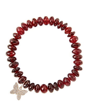 8mm Faceted Garnet Beaded Bracelet with 14k Gold/Diamond Small Butterfly ...