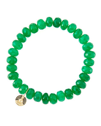 8mm Faceted Green Onyx Beaded Bracelet with 14k Gold/Diamond Small Buddha ...