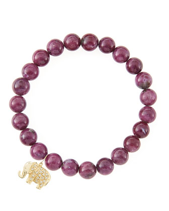 8mm Natural Ruby Beaded Bracelet with 14k Gold/Diamond Small Elephant Charm ...