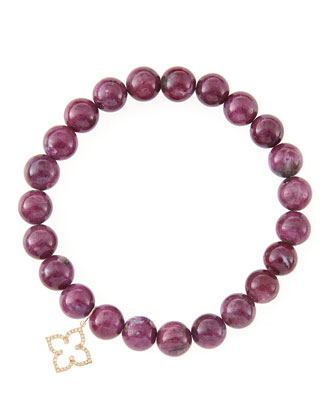 8mm Natural Ruby Beaded Bracelet with 14k Gold/Diamond Small Moroccan ...