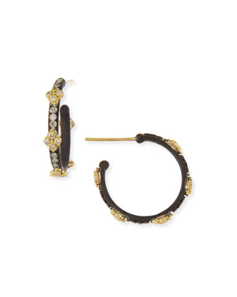 Small Midnight Hoop Earrings with Gold & Diamond Cravellis