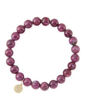 8mm Natural Ruby Beaded Bracelet with 14k Yellow Gold/Diamond Small Disc ...