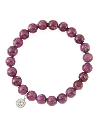 8mm Natural Ruby Beaded Bracelet with 14k White Gold/Diamond Small Disc ...