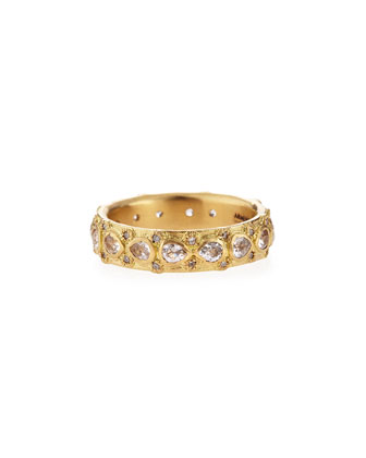 Yellow Gold Lacy Eternity Stackable Ring