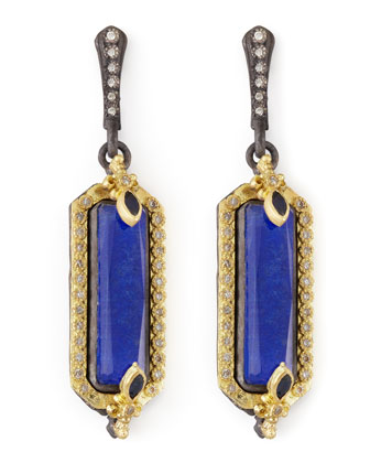 Midnight Small Lapis Fleur de Lis Earrings