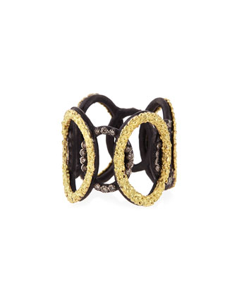 Midnight & Yellow Gold Circle Link Ring with Diamonds