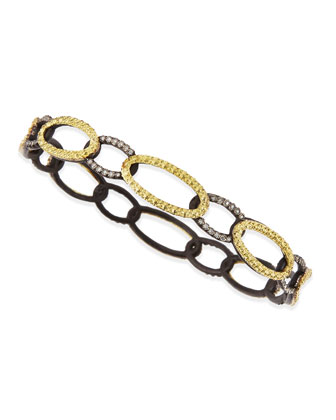 Midnight & Yellow Gold Circle Link Bangle with Diamonds