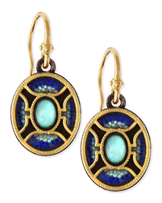 Midnight Oval Glass Mosaic Earrings