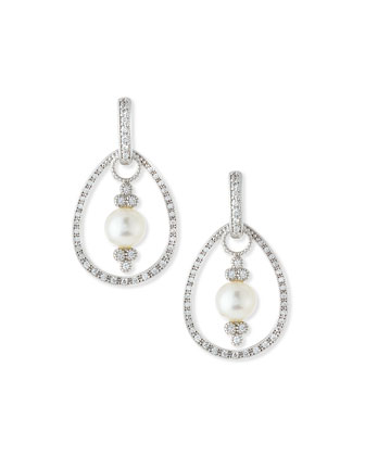 Classic White Gold Pave Diamond Teardrop Earring Frames
