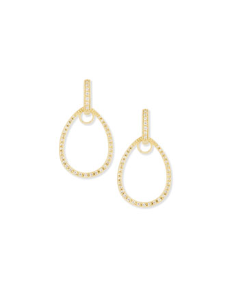 Classic Yellow Gold Pave Diamond Teardrop Earring Frames