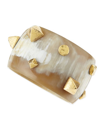 Kibanzi Light Horn Bangle with Hammered Pyramid & Round Studs