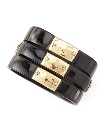 Square Dark Horn Bangles with Bronze Plates, Set of 3