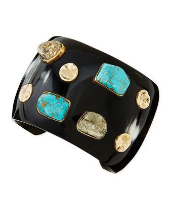 Mwamba Dark Horn Cuff with Turquoise & Pyrite