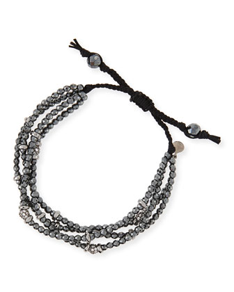 Multi-Strand Black Spinel Bead Bracelet