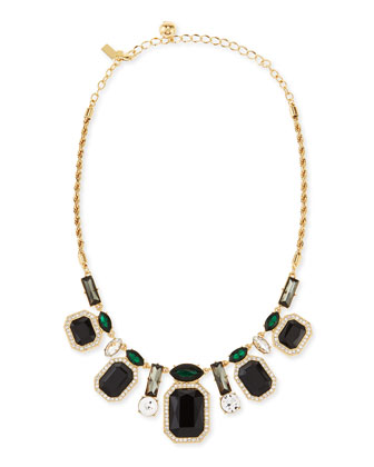 art deco crystal necklace, black/green